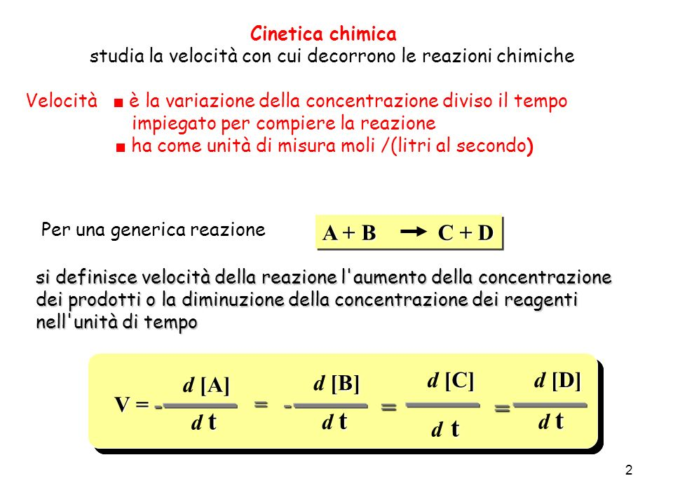 = = A + B C + D V = - d [A] d t d [B] = - d [C] d [D] V = - d [A] d t